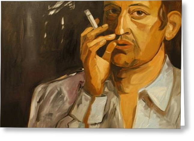 Serge Gainsbourg Greeting Card by Carmen Stanescu Kutzelnig