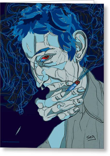 Serge Gainsbourg Greeting Card by Suzanne Gee