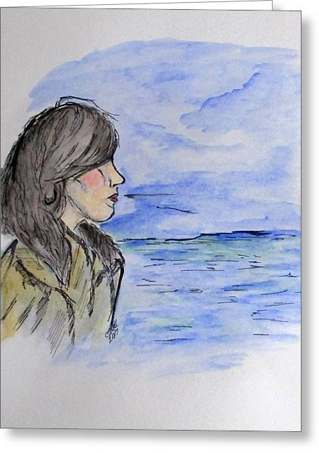 Greeting Card featuring the mixed media Serious Girl by Clyde J Kell