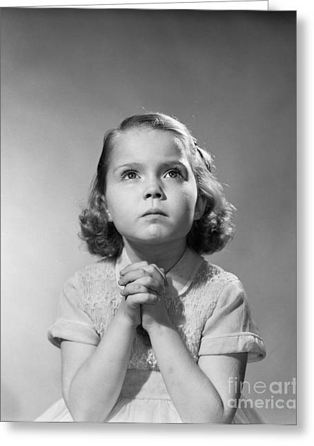 Serious Little Girl Praying, C.1950s Greeting Card by Debrocke/ClassicStock