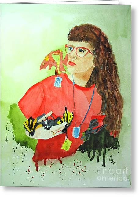 Serious Shopping Greeting Card by Sandy McIntire