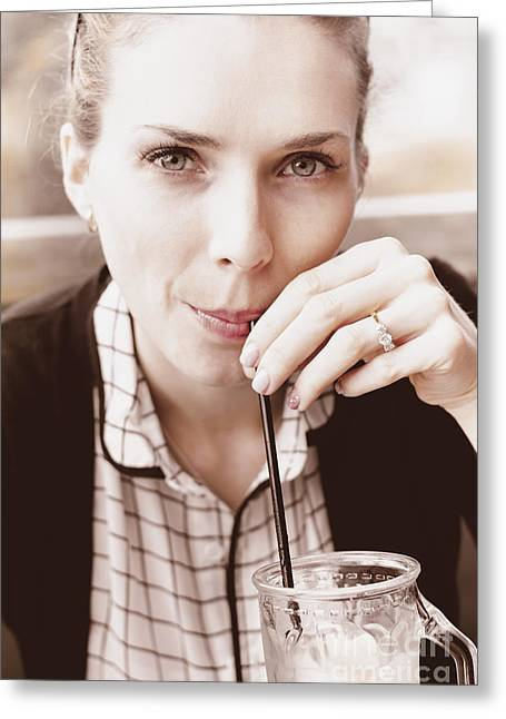 Serious Woman With Drink And Engagement Ring Greeting Card by Jorgo Photography - Wall Art Gallery