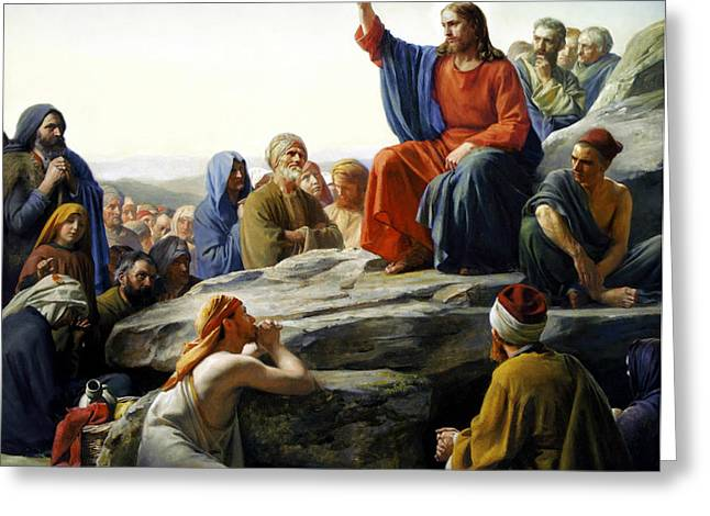 Sermon On The Mount Greeting Card by Carl Bloch