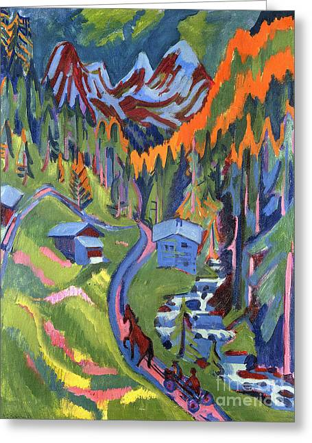 Sertig Path In Summer Greeting Card by Ernst Ludwig Kirchner