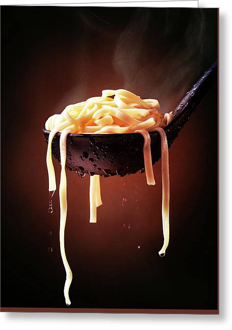 Serving Cooked Fettuccine Steaming Hot Greeting Card