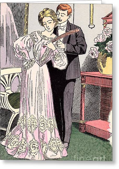 Serving His Lady Greeting Card by Martin von Maele