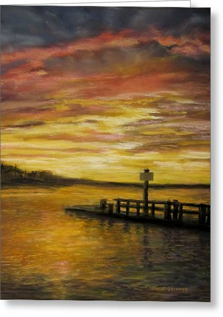 East Dennis Greeting Cards - Sesuit Harbor at Sunset Greeting Card by Jack Skinner