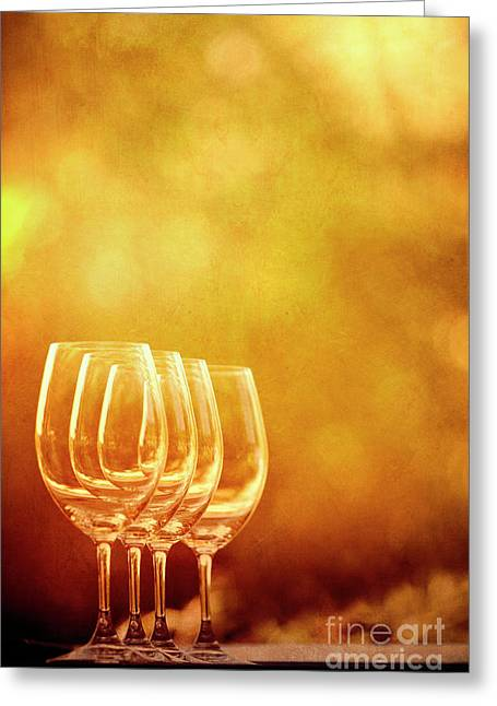 Table Wine Greeting Cards - Set For Four Greeting Card by Margie Hurwich