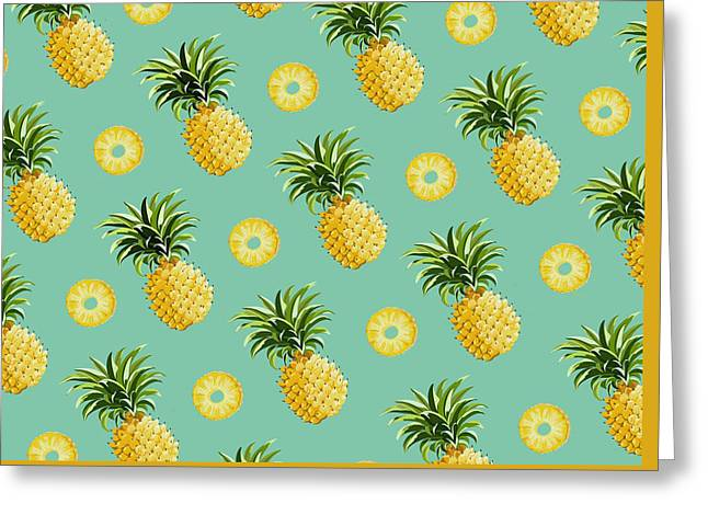 Set Of Pineapples Greeting Card by Vitor Costa