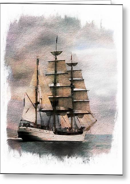 Greeting Card featuring the painting Set Sail by Aaron Berg