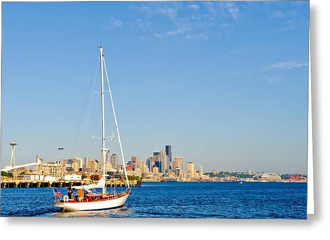 Set Sail Seattle Greeting Card by Tom Dowd