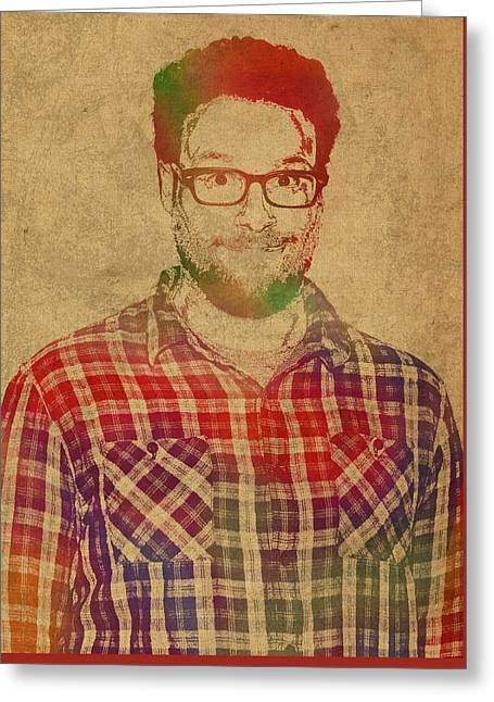 Seth Rogen Comedian Actor Watercolor Portrait On Canvas Greeting Card by Design Turnpike