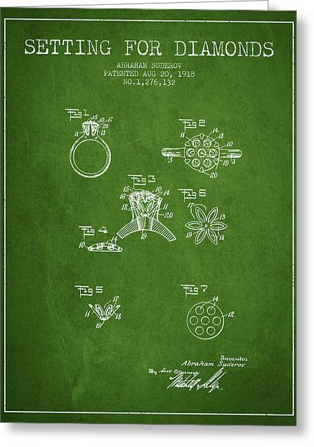 Setting For Diamonds Patent From 1918 - Green Greeting Card