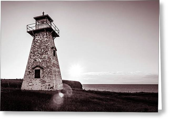 Greeting Card featuring the photograph Setting Sun At Cape Tryon Lighthouse by Chris Bordeleau