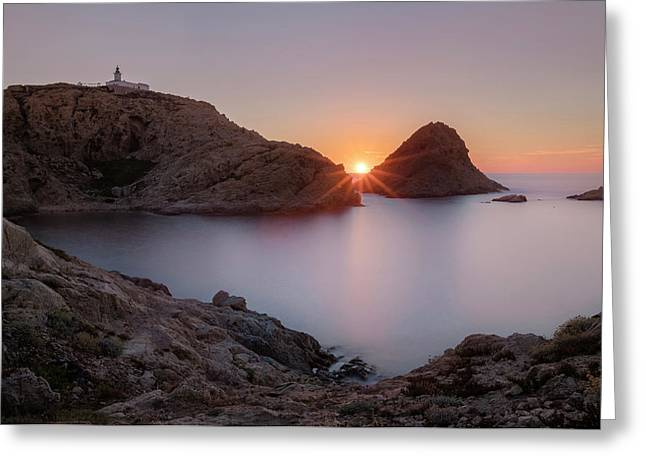 setting sun at L'Ile Rousse - Corsica Greeting Card