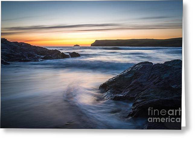 Setting Sun At Polzeath Greeting Card by Amanda Elwell