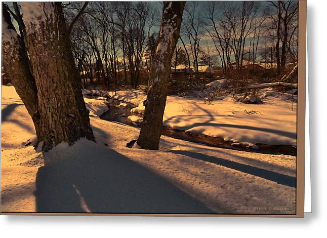 Setting Sun On A Winters Day Greeting Card