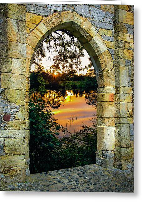 Greeting Card featuring the photograph Setting Sun On Ireland's Shannon River by James Truett