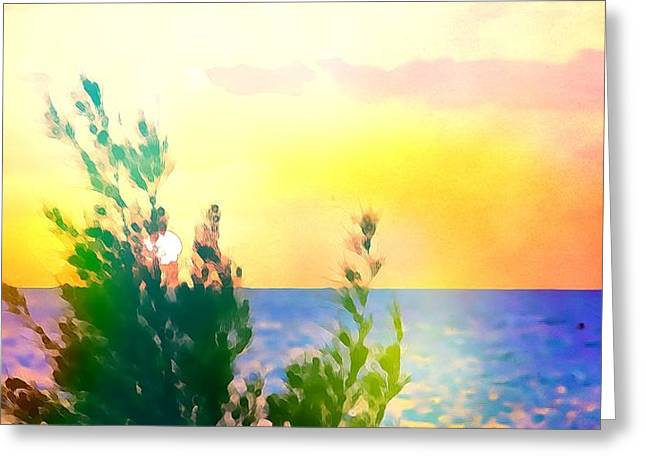 Pastel Colors On The Atlantic Ocean In Cancun Greeting Card