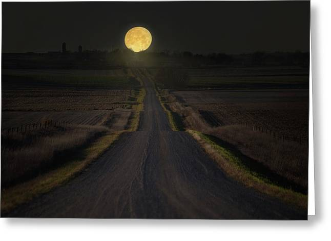Setting Supermoon Greeting Card by Aaron J Groen