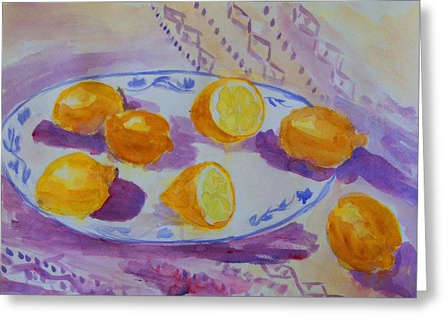 Setting With Lemons Greeting Card by Liliana Andrei