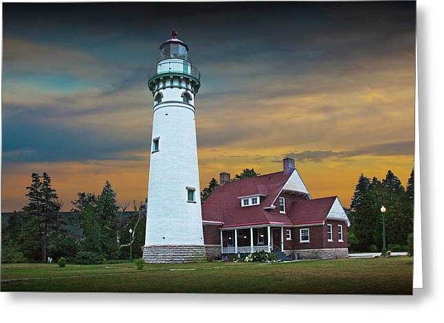 Seul Choix Point Fog Signal Building At Sunset Greeting Card by Randall Nyhof