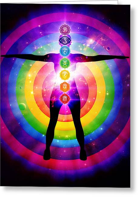 Seven Chakra Centers Illustration With Outer Universe Greeting Card by Serena King