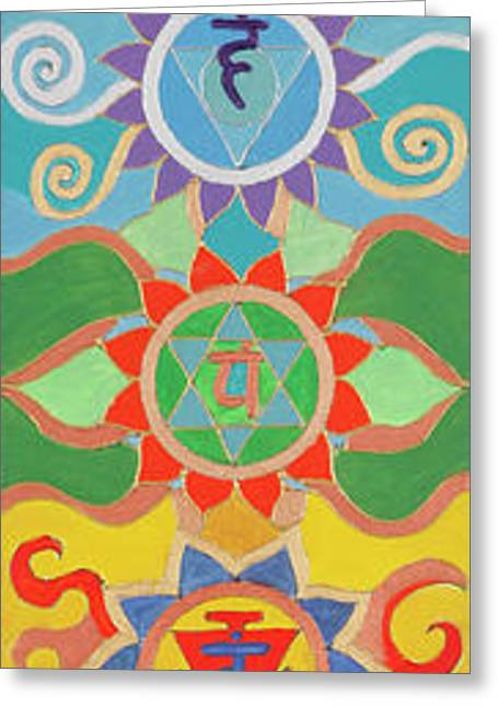 Seven Chakras Harmony Pillr Greeting Card by Sandra Petra Pintaric