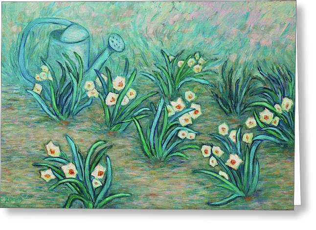 Greeting Card featuring the painting Seven Daffodils by Xueling Zou