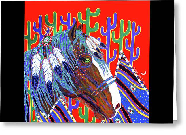 Greeting Card featuring the painting Seven Feathers by Debbie Chamberlin