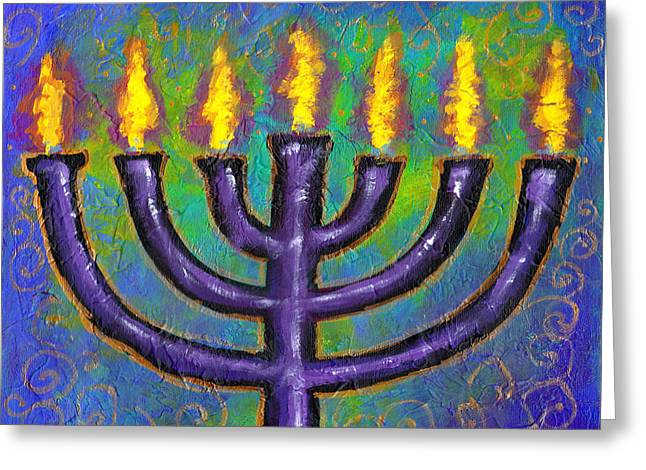 Greeting Card featuring the painting Seven Flames by Angela Treat Lyon