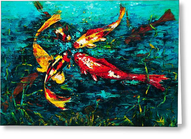 Seven Koi Greeting Card by Mary DuCharme