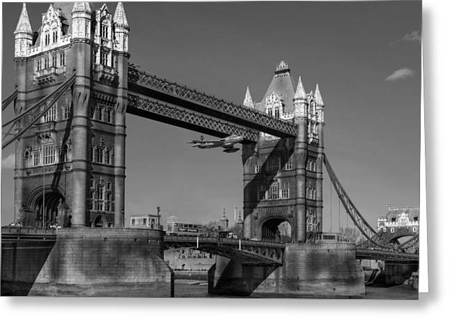 Seven Seconds - The Tower Bridge Hawker Hunter Incident Bw Versio Greeting Card by Gary Eason