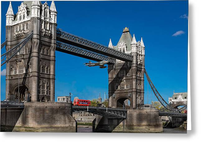 Seven Seconds - The Tower Bridge Hawker Hunter Incident  Greeting Card by Gary Eason
