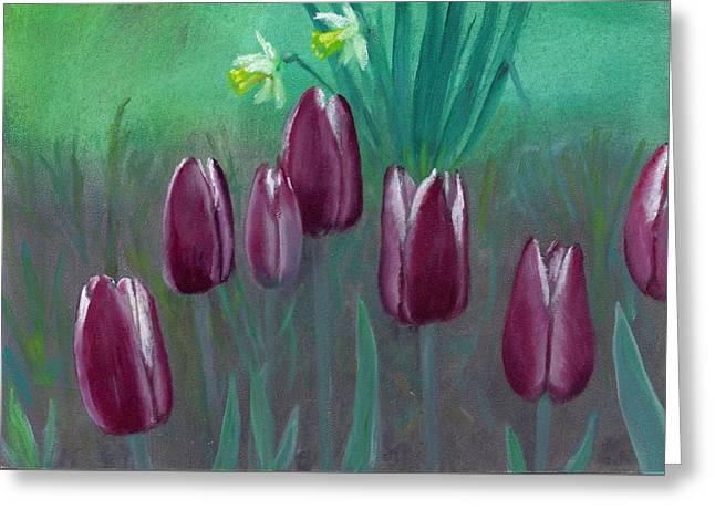 Seven Tulips Greeting Card by Laurel Ellis