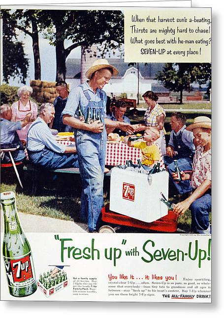 Seven-up Soda Ad, 1954 Greeting Card by Granger