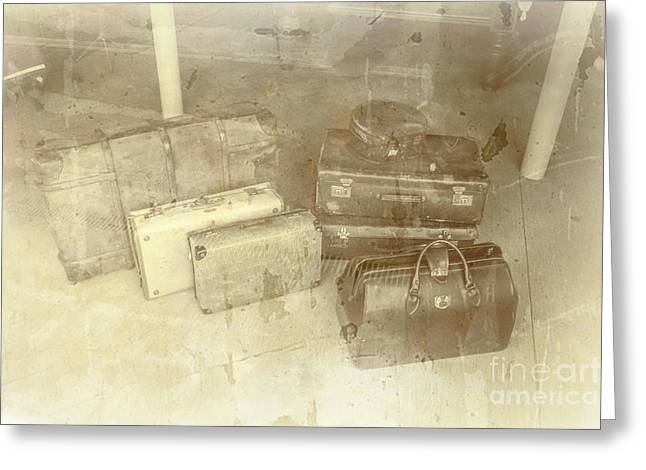 Several Vintage Bags On Floor Greeting Card