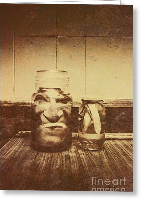 Severed And Preserved Head And Hand In Jars Greeting Card
