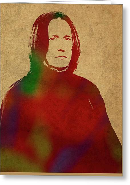 Severus Snape From Harry Potter Watercolor Portrait Greeting Card by Design Turnpike