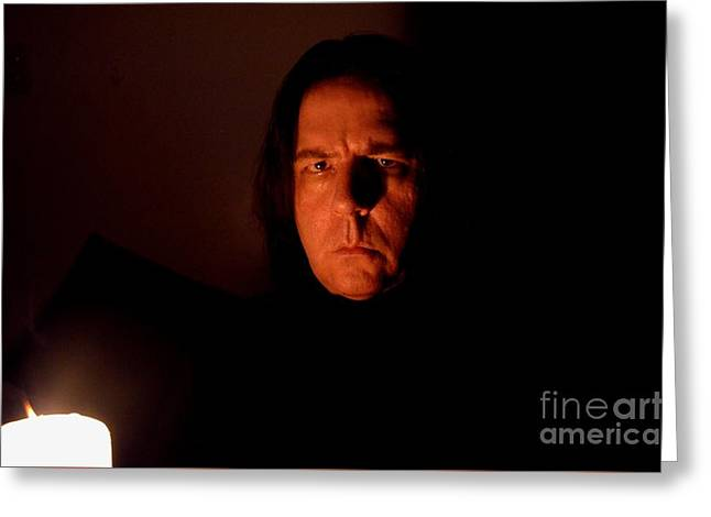 Severus Snape Self Portrait Greeting Card by Christopher Shellhammer