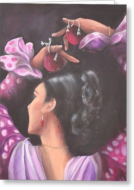 Seville Flamenco Dancer Greeting Card by Marlyn Anderson