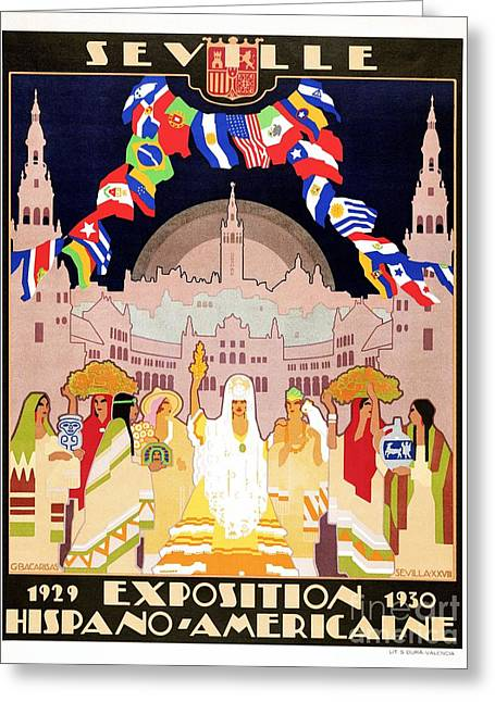 Seville Sevilla Art Deco Hispano-american Expo 1929 Greeting Card by Heidi De Leeuw