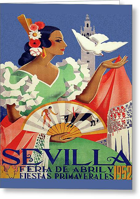 Seville, Spain Travel Poster Greeting Card by Long Shot