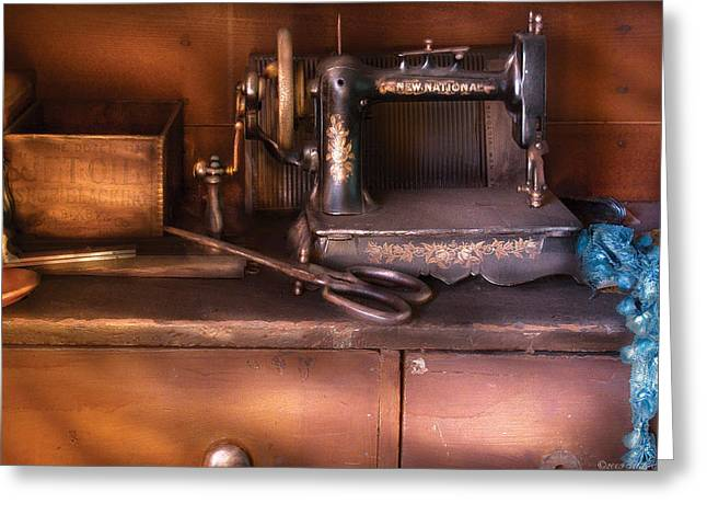 Sewing - New National Sewing Machine  Greeting Card by Mike Savad