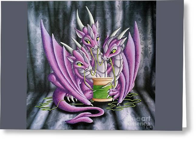 Sewing Dragons Greeting Card