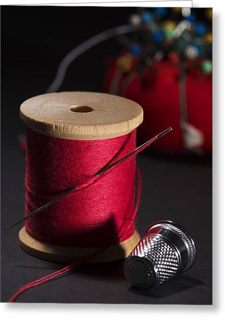 Sewing Equipment - Needle And Thread Greeting Card by Donald Erickson