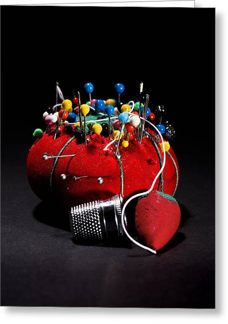 Sewing Equipment - Pin Cushion Greeting Card by Donald Erickson