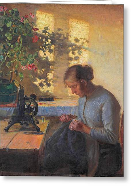 Sewing Fisherman's Wife Greeting Card by Anna Ancher