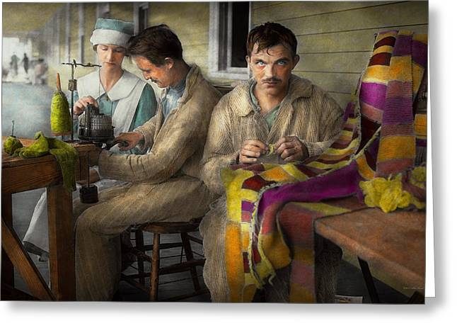 Sewing - Knitting Helps Me To Relax... 1917 Greeting Card by Mike Savad
