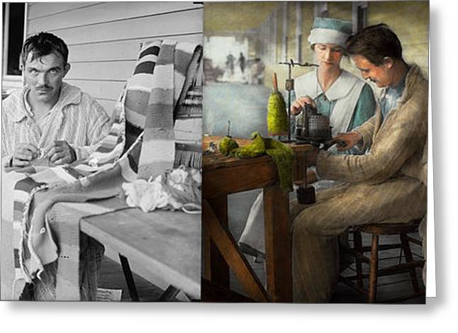 Sewing - Knitting Helps Me To Relax... 1917 - Side By Side Greeting Card by Mike Savad